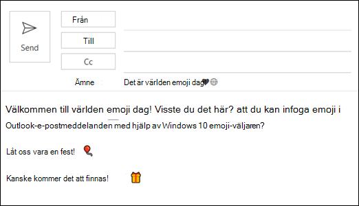 Du kan infoga en eller flera emojier i e-postmeddelandet.