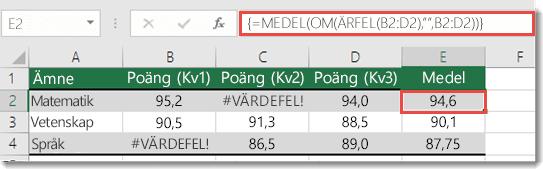 Funktionen matris i genomsnitt för att lösa #VALUE! med OM