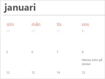 Kalender-mall i Excel Online