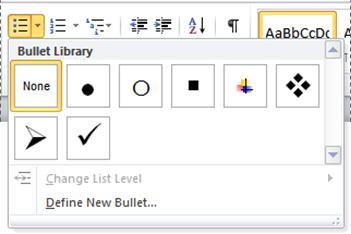 Punktlistebiblioteket i Word 2010