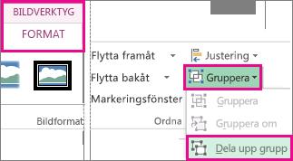 Knappen Dela upp grupp på fliken Format under Bildverktyg