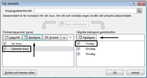 Du kan redigera förklaringsnamnet i dialogrutan Välj datakälla.