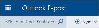 En skärmbild av det övre vänstra hörnet av den klassiska Outlook.com-postlådan