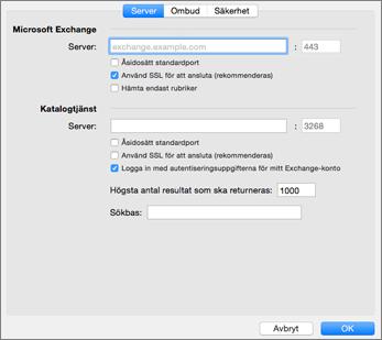 Serverinställningar för Exchange-konton