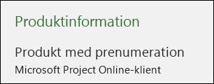 Projektinformation för Project Online-klient på stationär dator