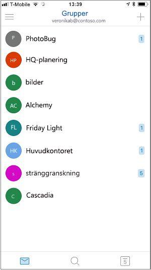 Startskärmen för grupper-mobilappen