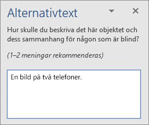 Ett exempel på en dålig alternativtext i Word för Windows.
