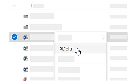 Skärmbild av snabbmenyn i OneDrive för företag online.