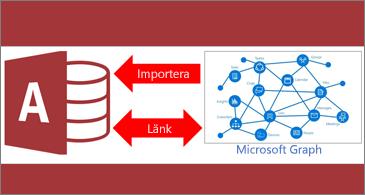 Access-logotyp och diagram med pilar som hamnar mellan