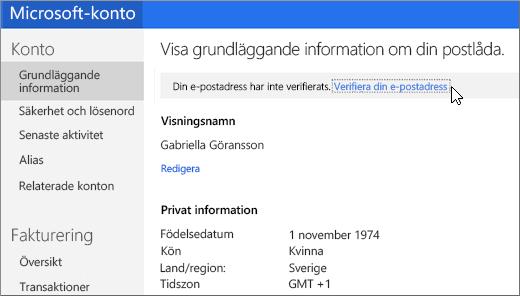 Verifiera din e-postadress