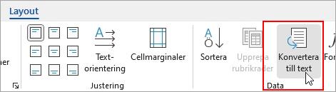Alternativet Omvandla till text är markerat på fliken Layout under Tabellverktyg.