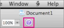 Klicka på frågetecknet för att öppna hjälpinformationen i Mac Office