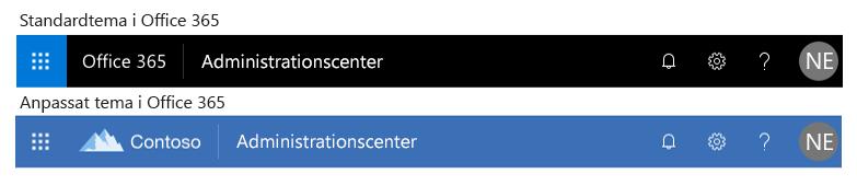 Standardtema och anpassat tema i Office 365