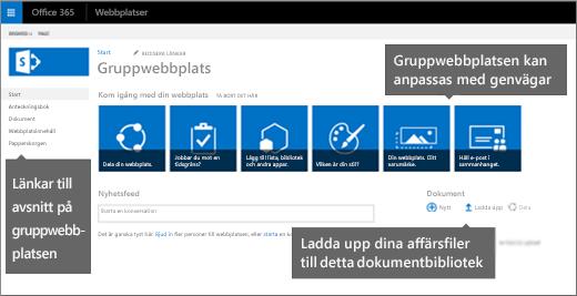 Startsidan för gruppwebbplatser har vanliga funktioner sida vid sida för att anpassa webbplatsen.