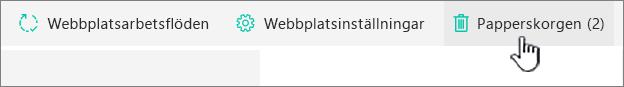 SharePoint Online, sidan Webbplatsinnehåll, knappen Papperskorg