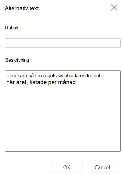 Dialogrutan Alternativ text för tabell i Word för webben.