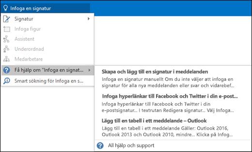 Skriv vad du vill göra i rutan Berätta i Outlook så får du hjälp med uppgiften