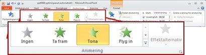 Fliken Animeringar i menyfliksområdet i PowerPoint 2010