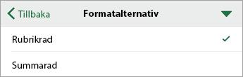 Kommandot Formatalternativ med Rubrikrad markerat
