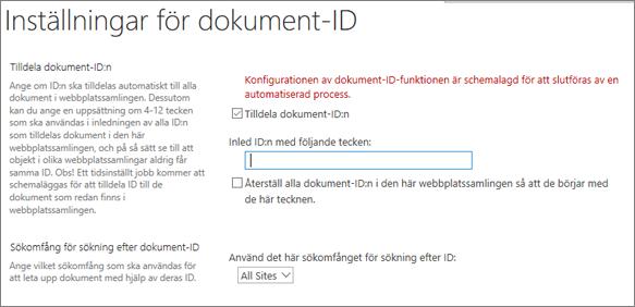 Tilldela dokument-ID på sidan Inställningar för dokument-ID