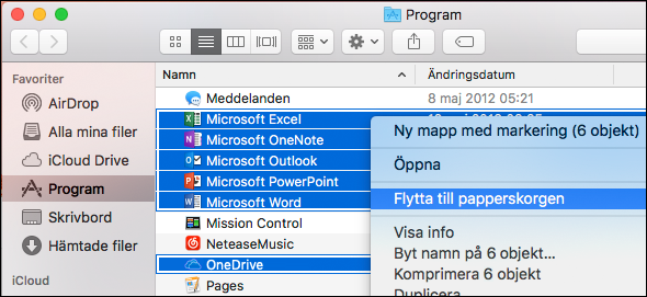 Flytta Office-program till papperskorgen
