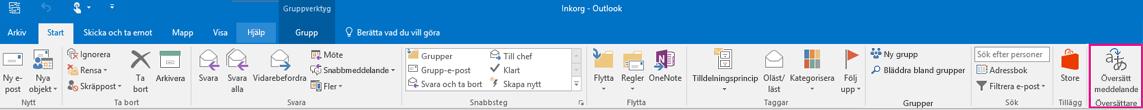 Menyfliksområde i Outlook 2016 med knappen Översätt meddelande markerad