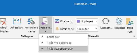 Tillåt alternativ för vidarebefordring i Outlook