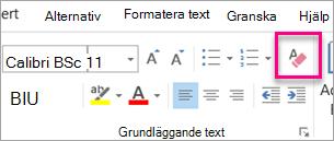 Radera All formatering ikonen markeras på fliken meddelande