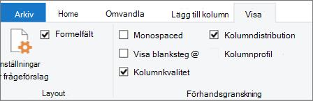 Alternativ för data profilering på fliken Visa i menyfliksområdet i Power Query Editor