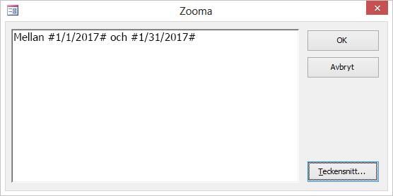 Ett uttryck i dialogrutan Zooma.
