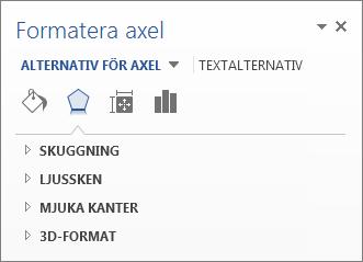 Lista över alternativ för att formatera axel som exempel på redigering av diagramelement