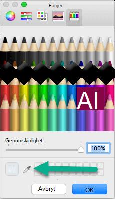 Dialogrutan Färger innehåller ett pipettverktyg.