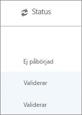 På sidan Datamigrering visas migreringens status för alla användare
