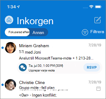 Prioriterad inkorg i Outlook Mobile