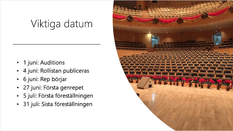 Exempelbild som visar en tidslinje med text samt ett foto som PowerPoint Designer ordnat och placerat