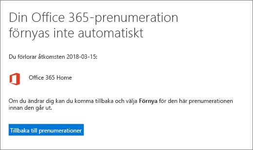 Skärmbild av bekräftelsesidan när du säger upp en prenumeration på Office 365 för hemmet.