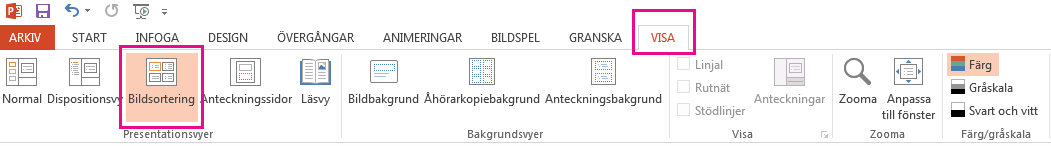 Klicka på Bildsortering på fliken Visa.
