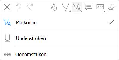 PDF-markerings meny för OneDrive för iOS