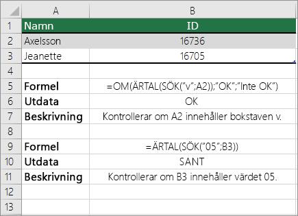 Exempel med OM, ÄRTAL och SÖK