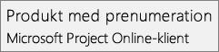 Skärmbild av namnet Produkt med prenumeration: Microsoft Project Online-skrivbordsklienten, som den ser ut i avsnittet Arkiv > Konto i Project.