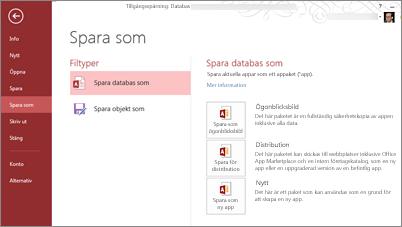 Alternativet Spara som databas på skärmen Spara som