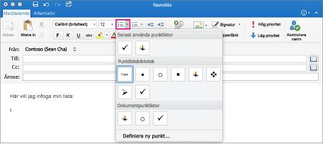 Markera den text du vill omvandla till en lista och klicka på knappen för punkter eller numrering
