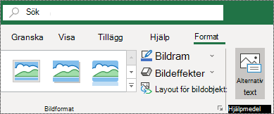 Knappen Alternativ Text i menyfliksområdet i Excel för Windows