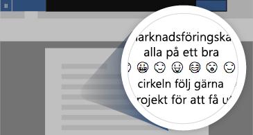 Dokument med inzoomat område som visar ett antal tillgängliga emojier