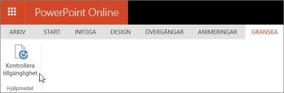 Skärmbild som visar fliken Granska med en markör som pekar på alternativet Kontrollera tillgänglighet.