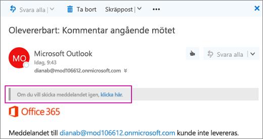 Skärmbilden visar en del av ett icke-leveranskvitto för ett meddelande som inte kunde levereras, med alternativet för att skicka meddelandet igen.