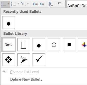 Skärmbild av alternativ för punktlistor
