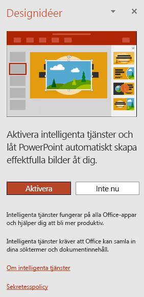Visar det ursprungliga meddelandet som visas när PowerPoint Designer anropas