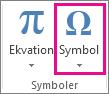 Kommandot Symbol på fliken Infoga