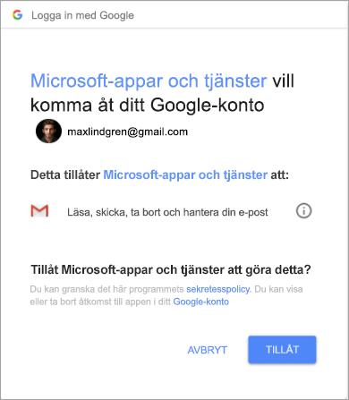 Visar behörighetsfönster för Outlook för åtkomst till ditt Gmail-konto